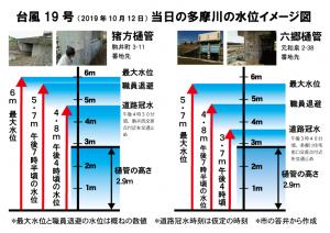台風第19号当日の多摩川の水位イメージ図
