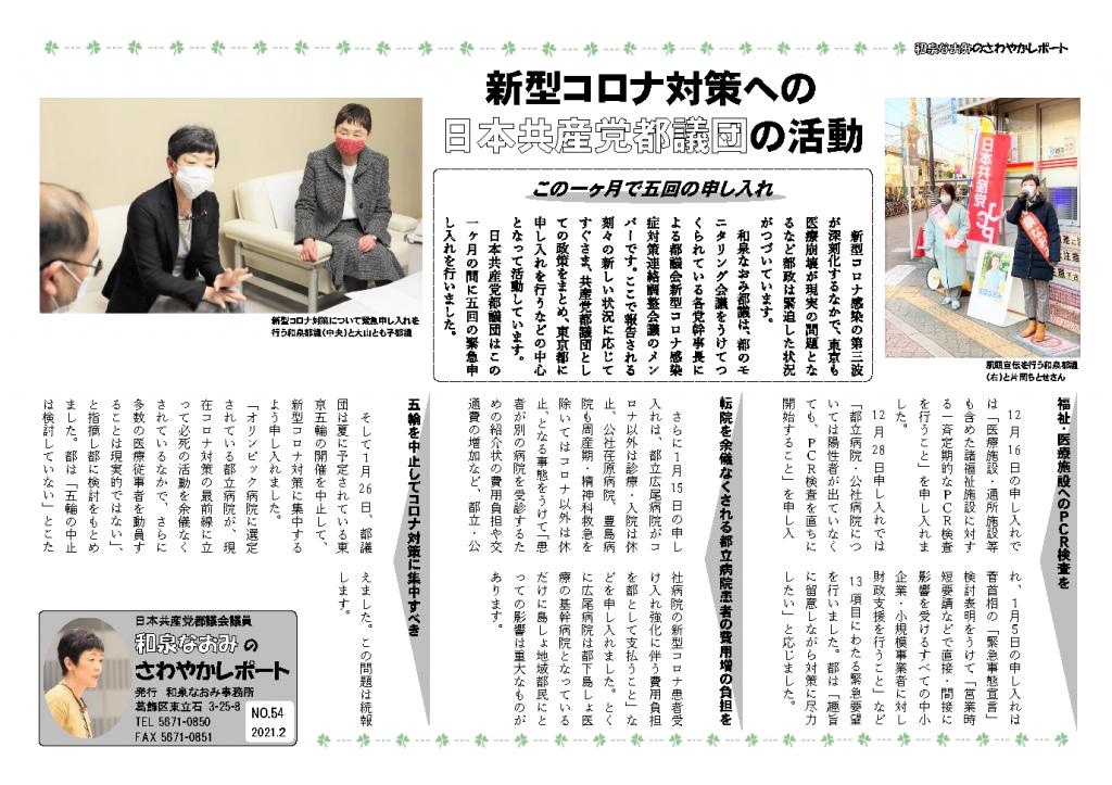 【さわやかレポートNO.54】新型コロナ対策への日本共産党都議団の活動